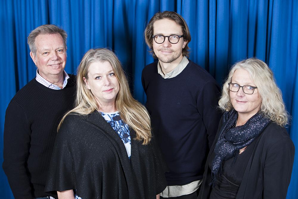 Fyra enhetschefer som utvecklar socialtjänsten i Mölndal. Från vänster: Jan Hurtig, Louise Idestål, Anders Nordberg-Markhede och Ingrid Kabo Irekvist. Foto: Patrik Bergenstav