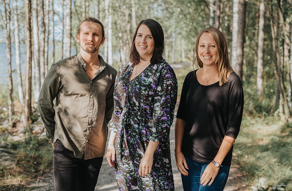 Joakim Södermark, Lina Forsberg och Maria Hollström på Cura Nord. Foto: KMH Fotografi