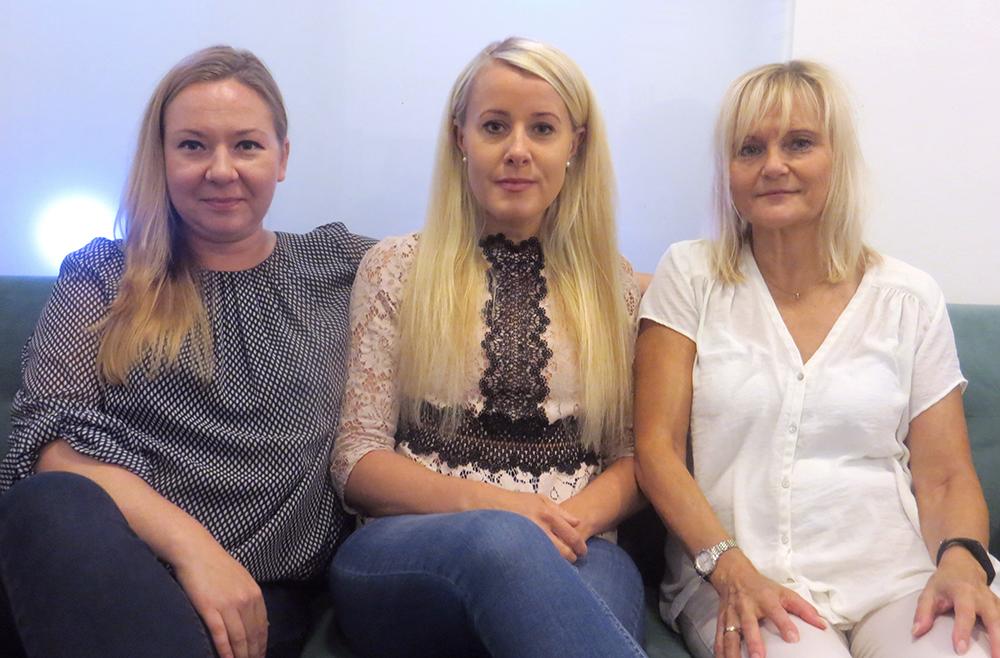 Olga Zakrjevskaia, vd, Helena Wendel, socionomkonsult och Leena Andersson, personalchef på Socionomkraft.